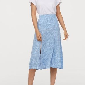 Light Blue Floral Midi Skirt